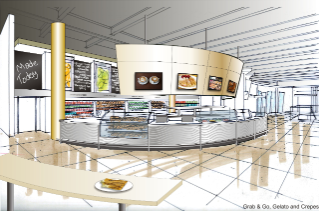A cafe at Turner Place will cater to commuters looking for a quick lunch or snack with fast and self-serve items, including coffee, baked goods, gelato, and crepes.