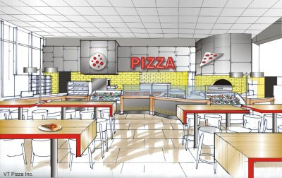 Architect's rendering of Turner Place pizza venue.