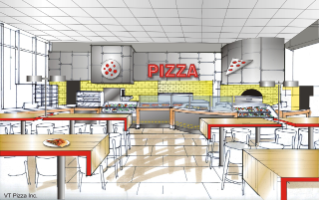 A pizza venue will offer wood oven-baked pizzas and other Italian entrees, with grab-and-go, custom, and chef's station menu choices.