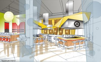 Architect's rendering of new Japanese steak house and sushi bar.