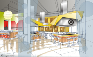 Turner Place will offer a mix of national franchises and in-house brands, including a Japanese steak house-style grill with a sushi bar, an Italian pizza venue, and an upscale bistro.