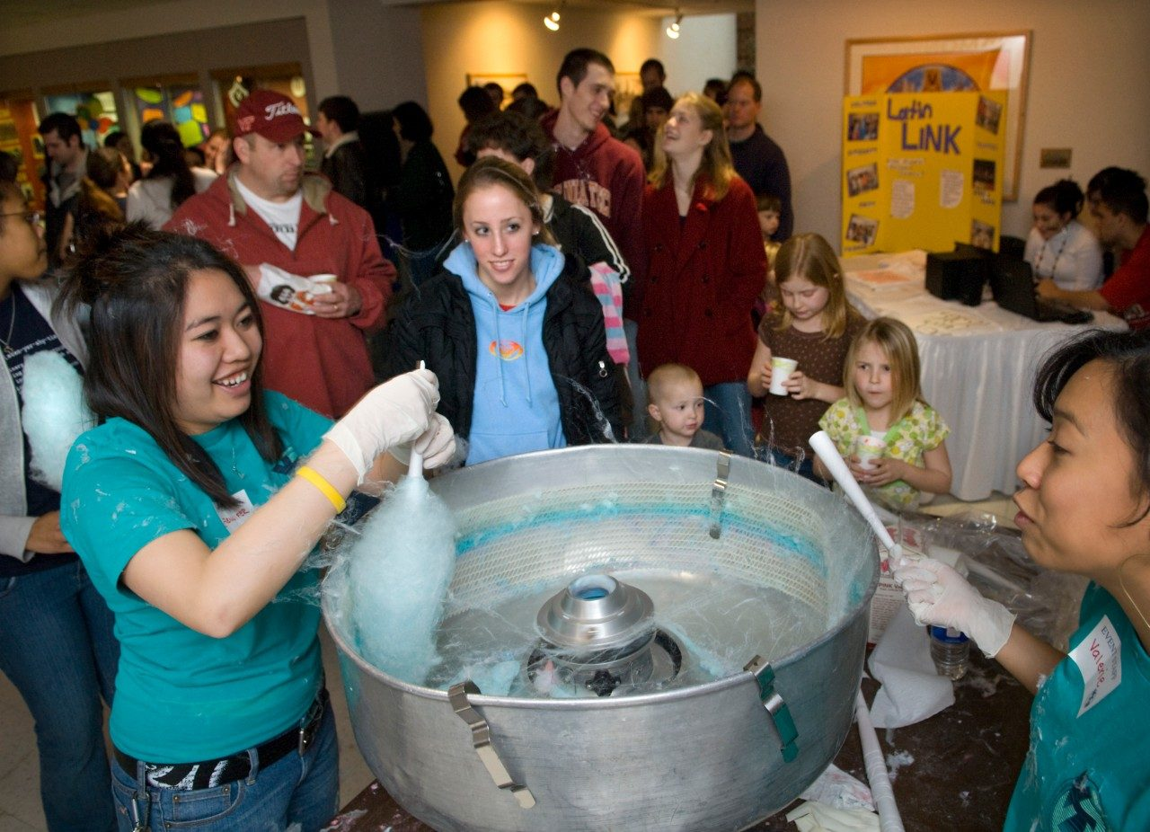 Students enjoy cotton candy at Winterfest 2010.