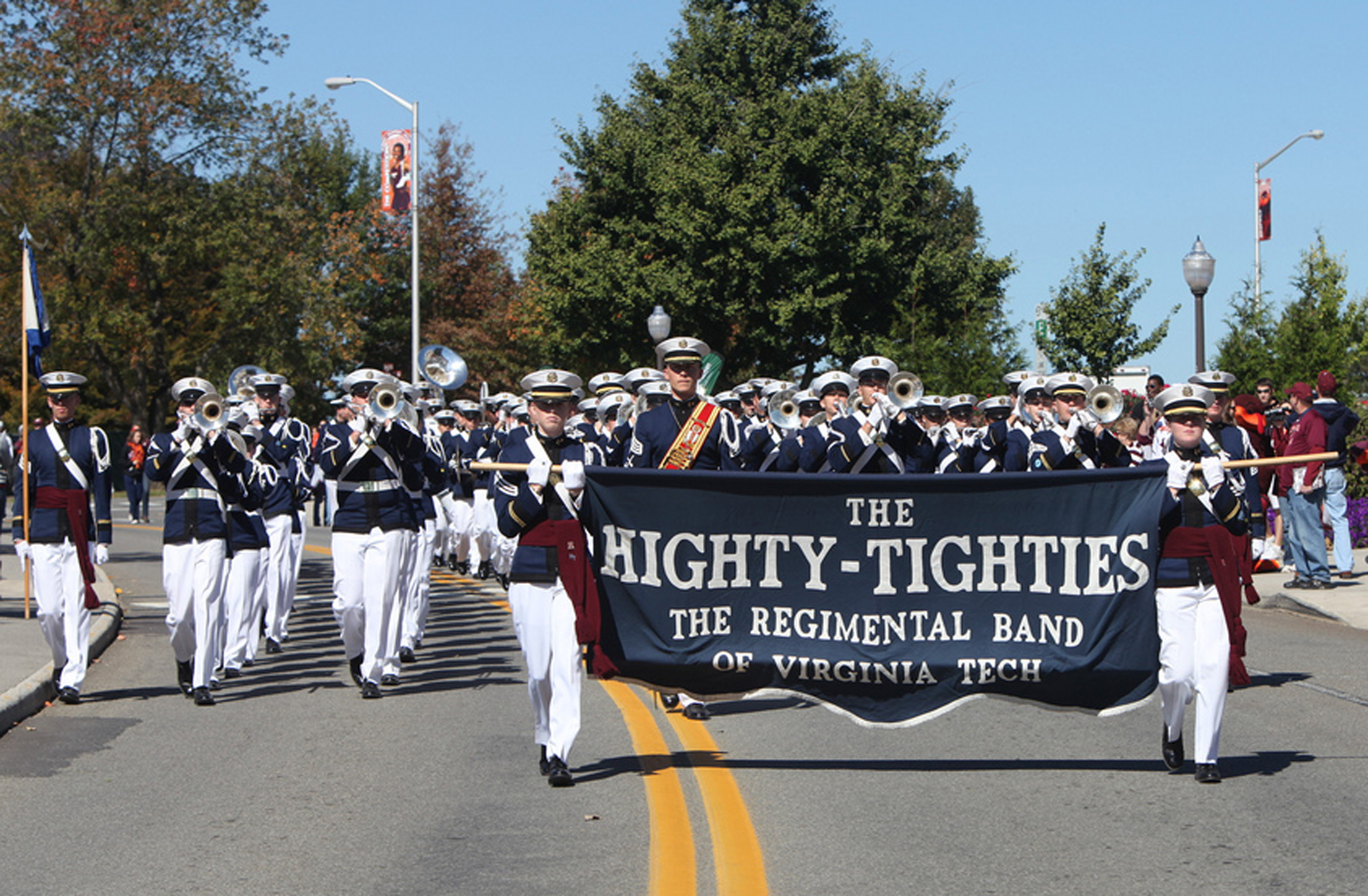 The Virginia Tech Corps of Cadets Regimental Band, the Highty-Tighties march.