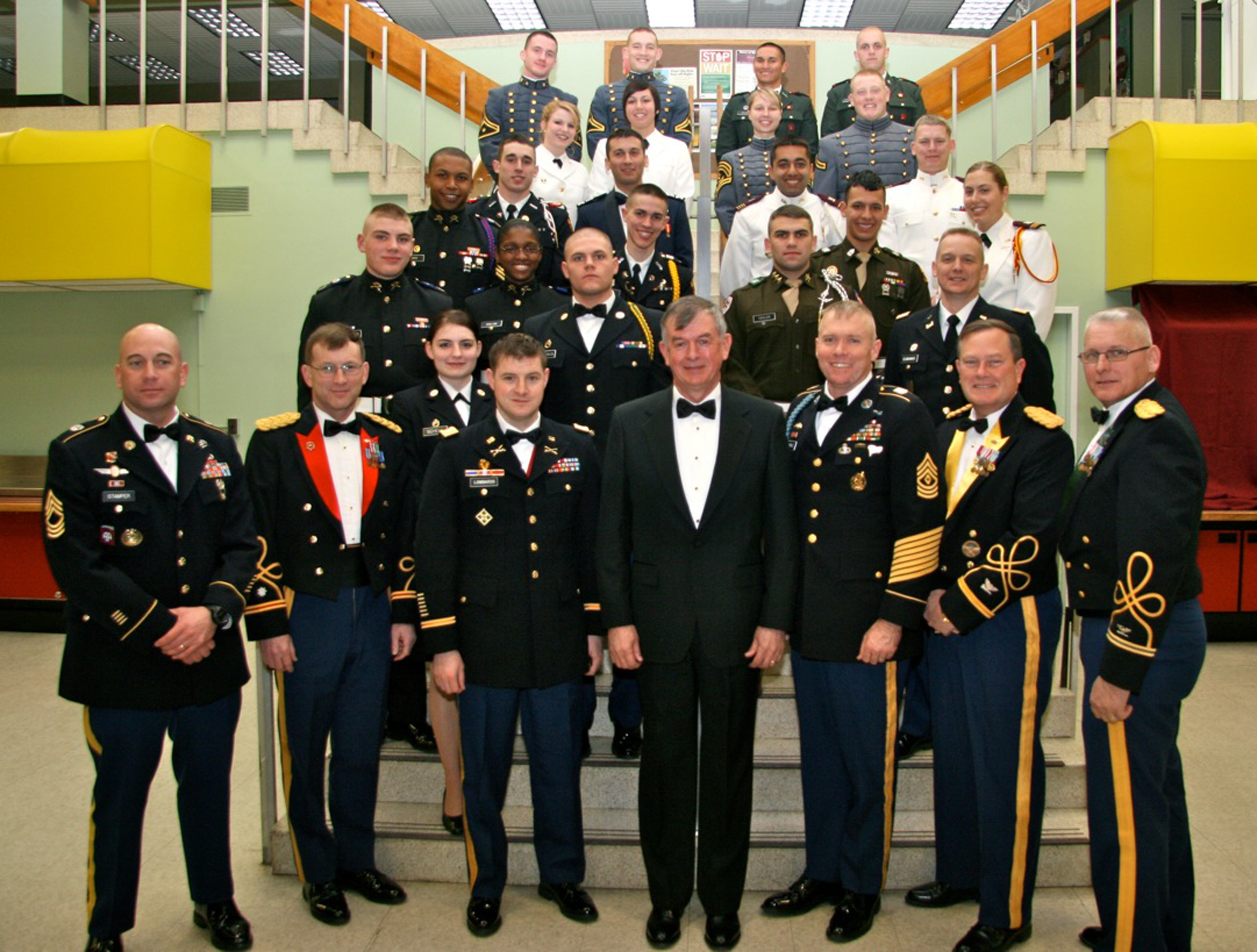 Cadets and visiting attendees of the Virginia Tech Corps of Cadets 2010 Leadership Conference are seen following the Senior Banquet