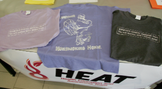 Shirts are available in a variety of colors with different tag lines.