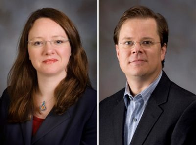 Portrait photos of Heather Gumbert (left) and Robert Stephens