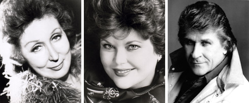 Headshots of (left to right) Mignon Dunn, Ruth Falcon, and Sherrill Milnes