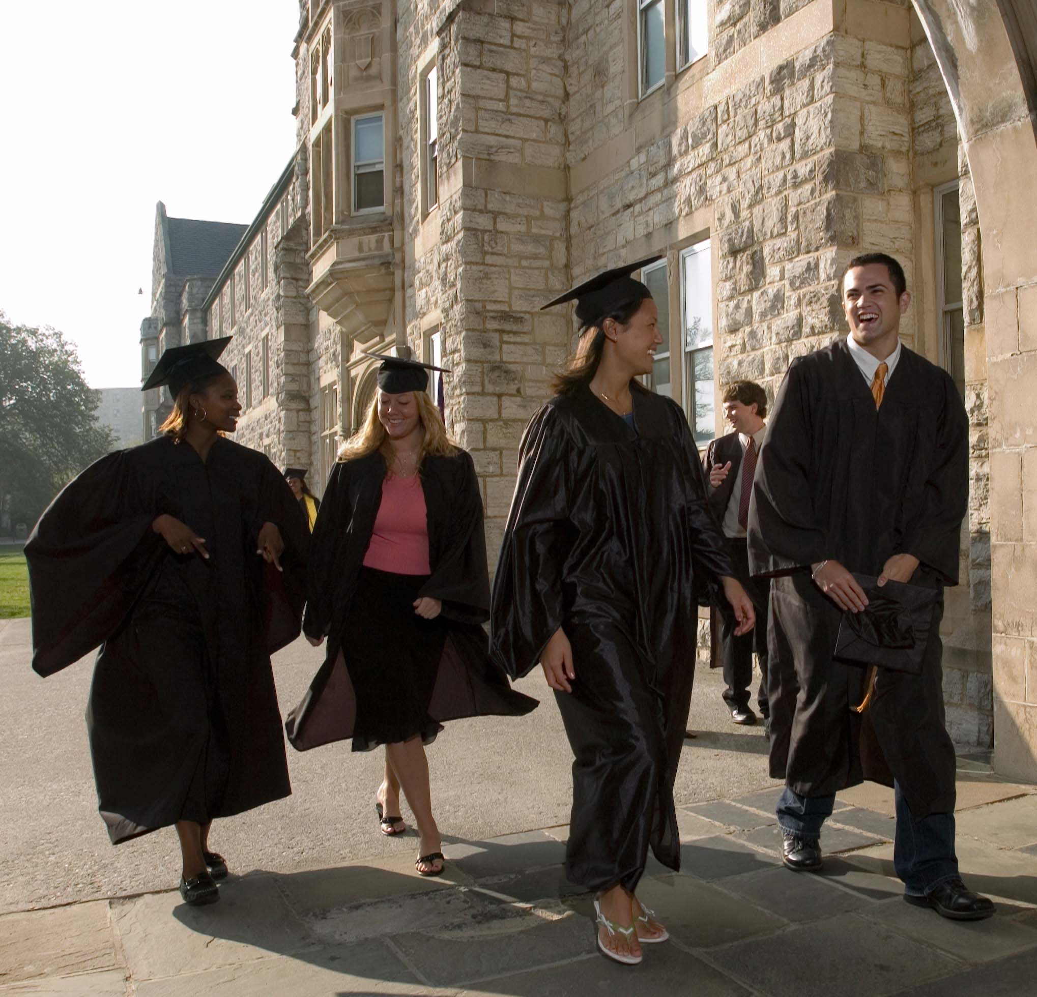 Virginia Tech students in cap and gown