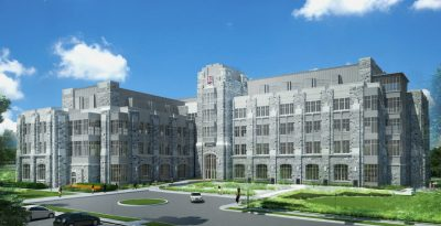 An architect's rendition of the exterior of Virginia Tech's Signature Engineering Building.