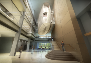 An architect's rendition of the interior of Virginia Tech's Signature Engineering Building.