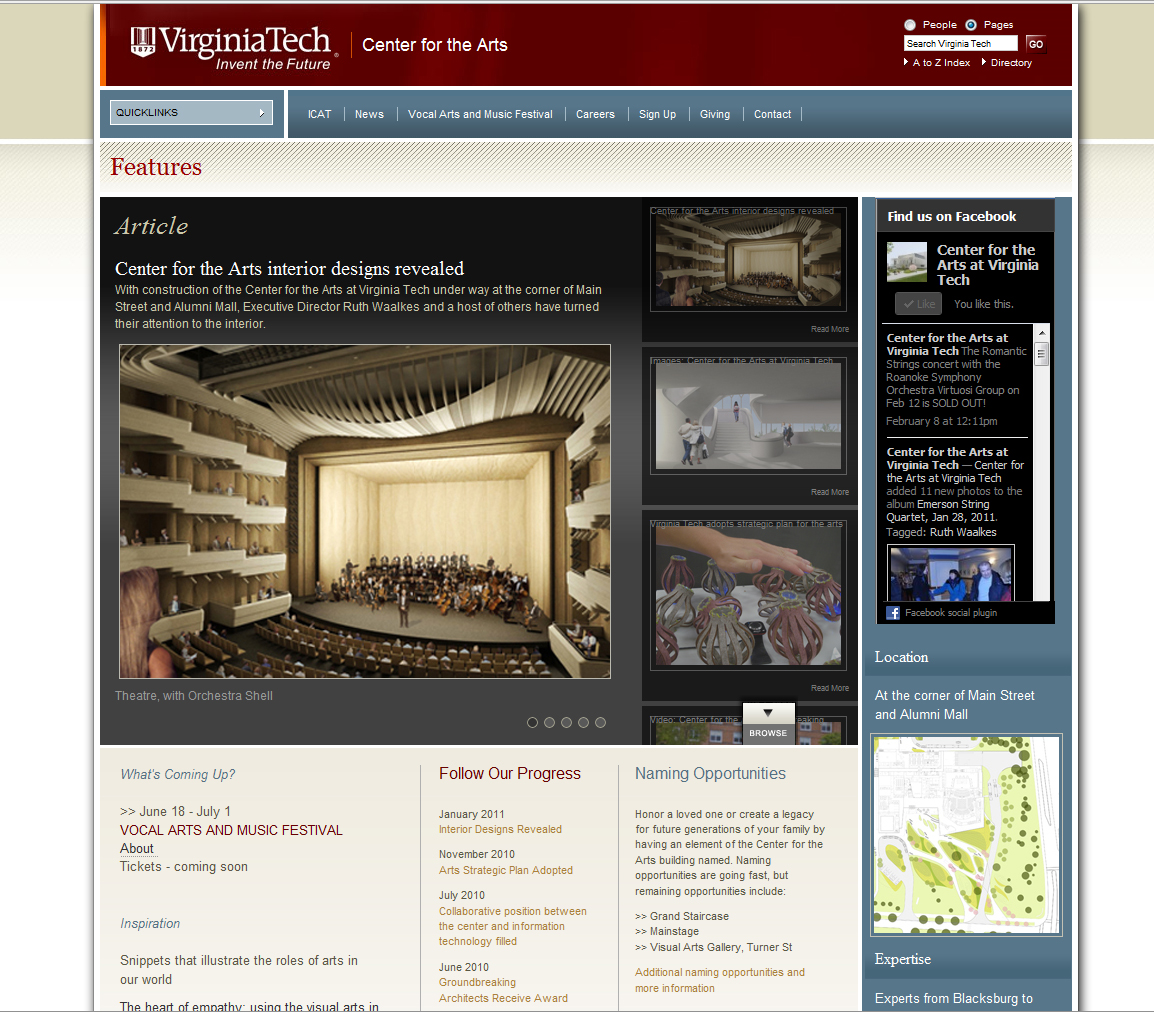 Screen shot of the Center for the Arts at Virginia Tech website homepage