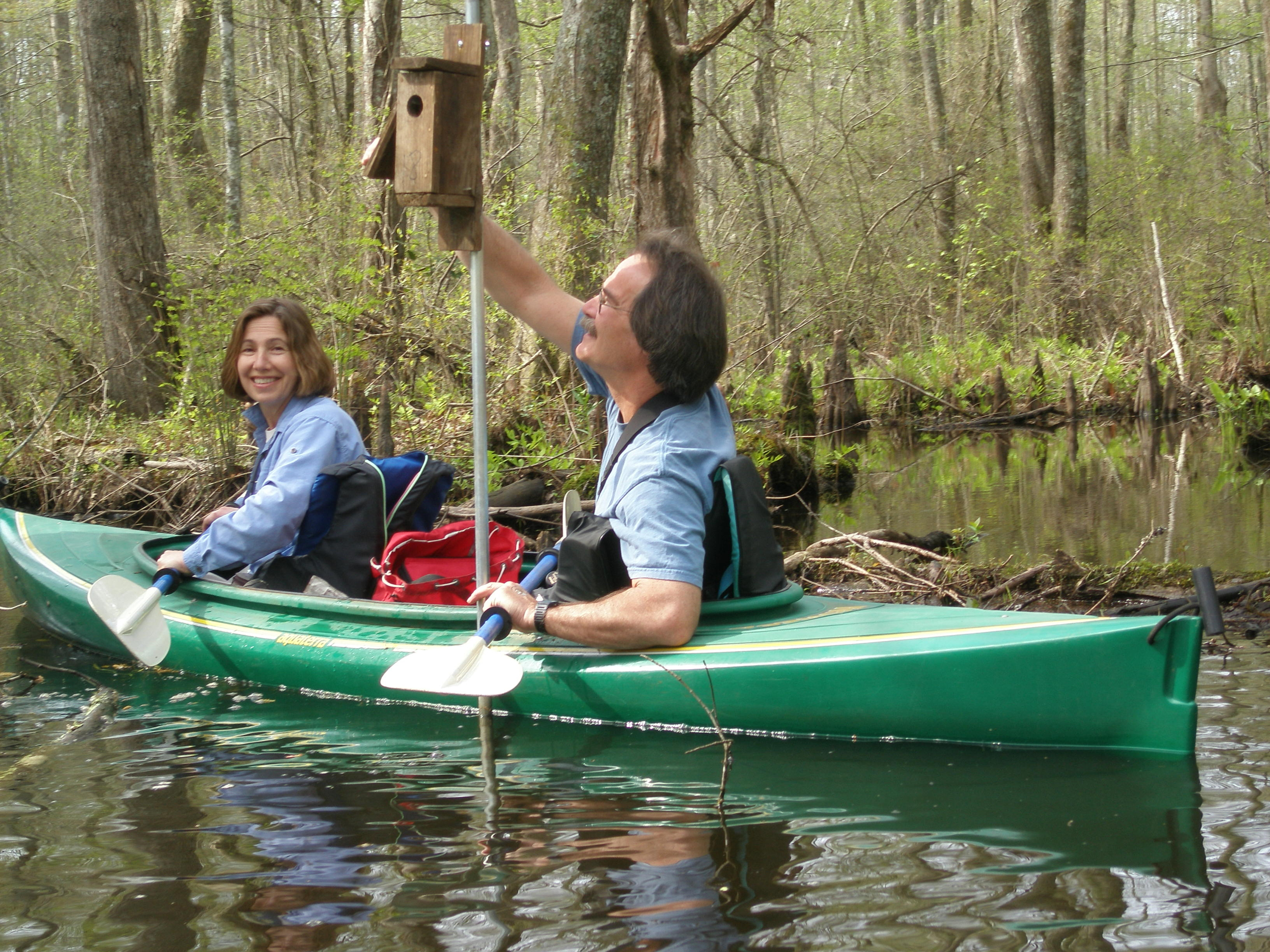 Two people in a kayak on a woodland pond, next to a bird box supported on a post.