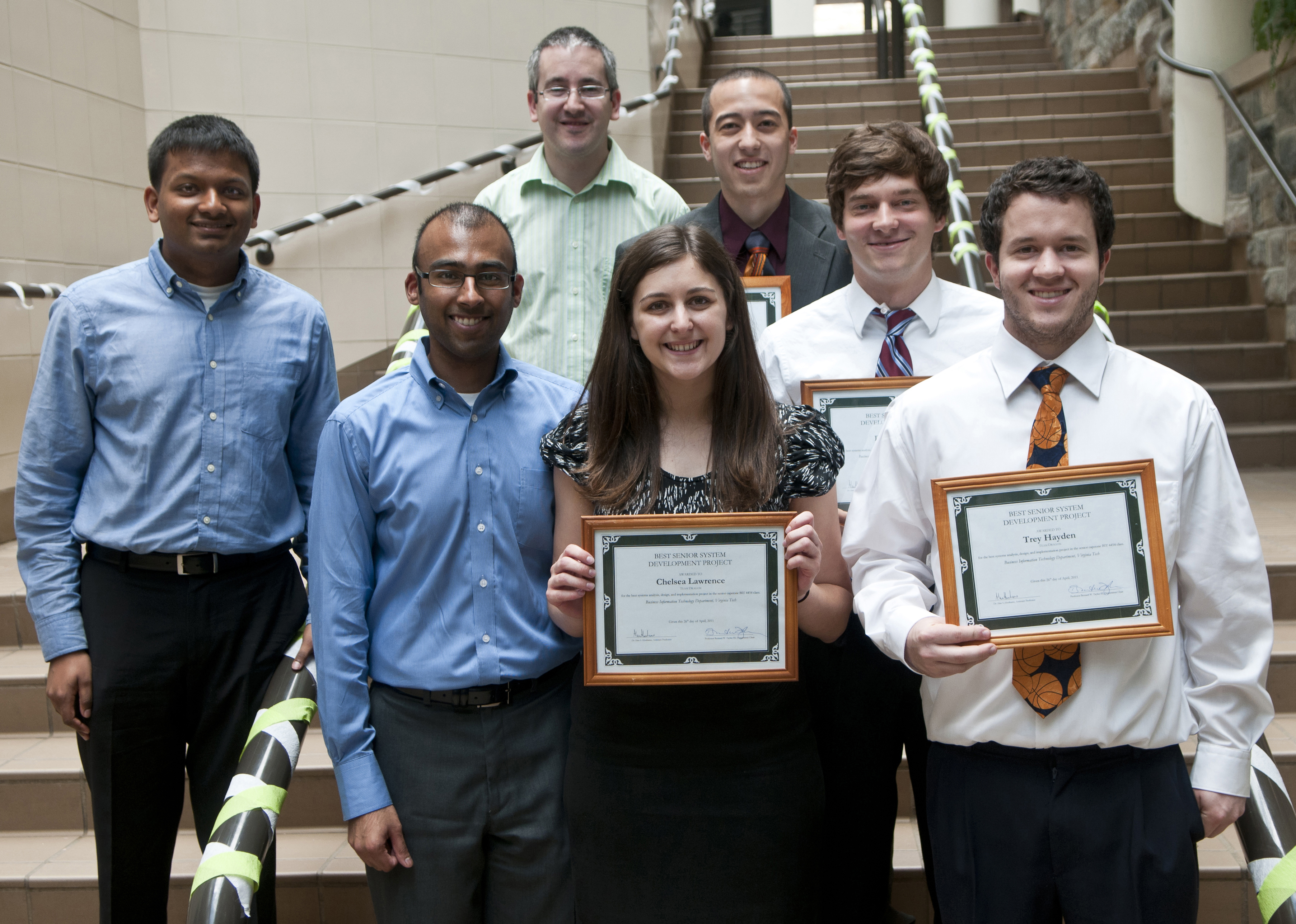 from left to right: David A. George, Vishnu Thygarajan, Alan Abrahams, Chelsea Lawrence, William Hayashi, Damir Uzunic, and Trey Hayden.