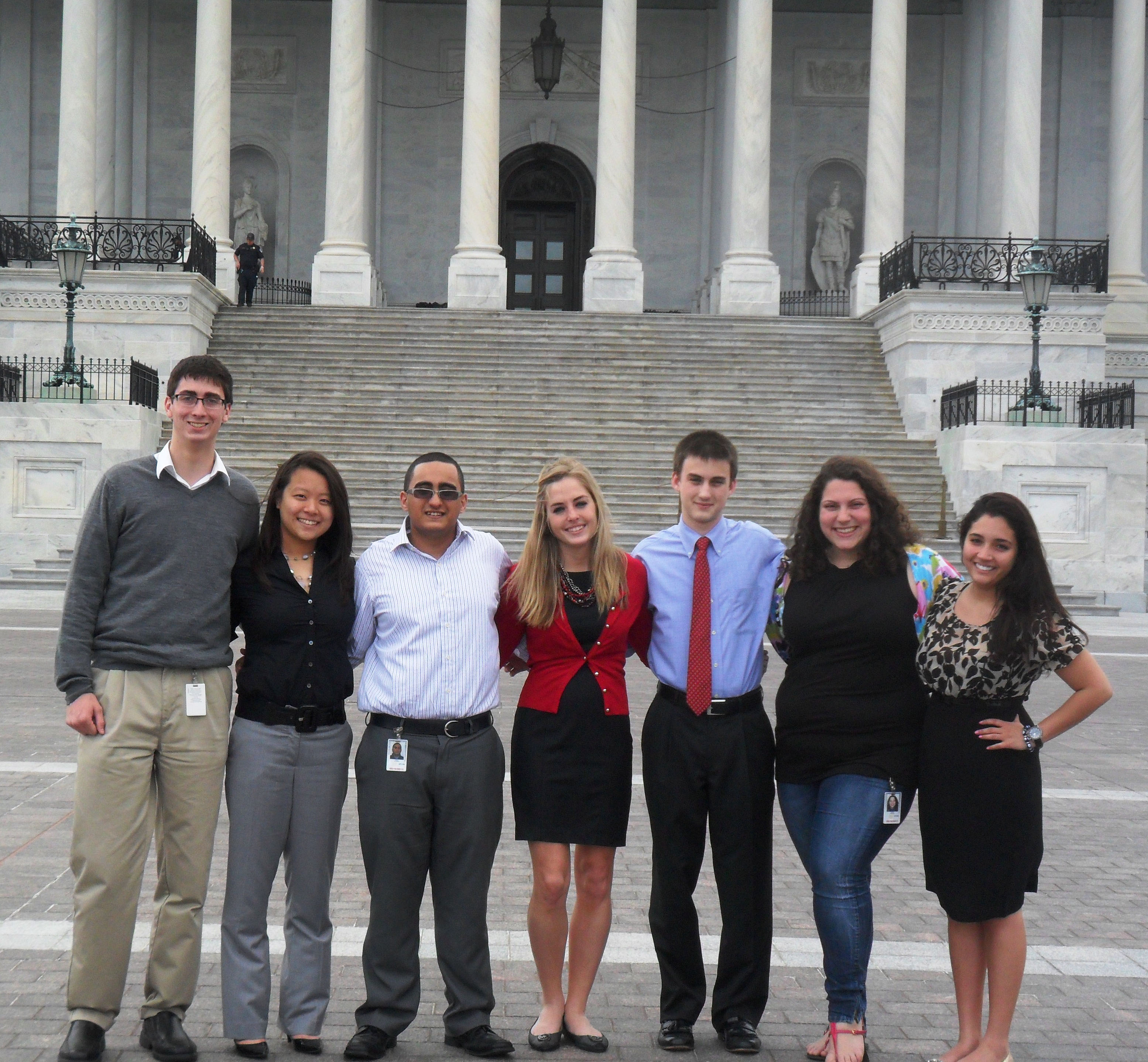 Seven Hokies on the Hill interns in front of Capitol in Washington, D.C.