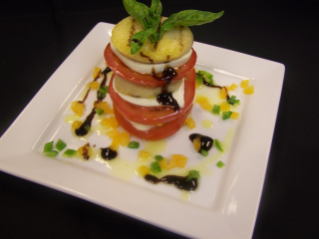 New appetizers at Preston's, the restaurant at The Inn at Virginia Tech, include the panzanella stack, based on the Florentine salad of bread and tomatoes.