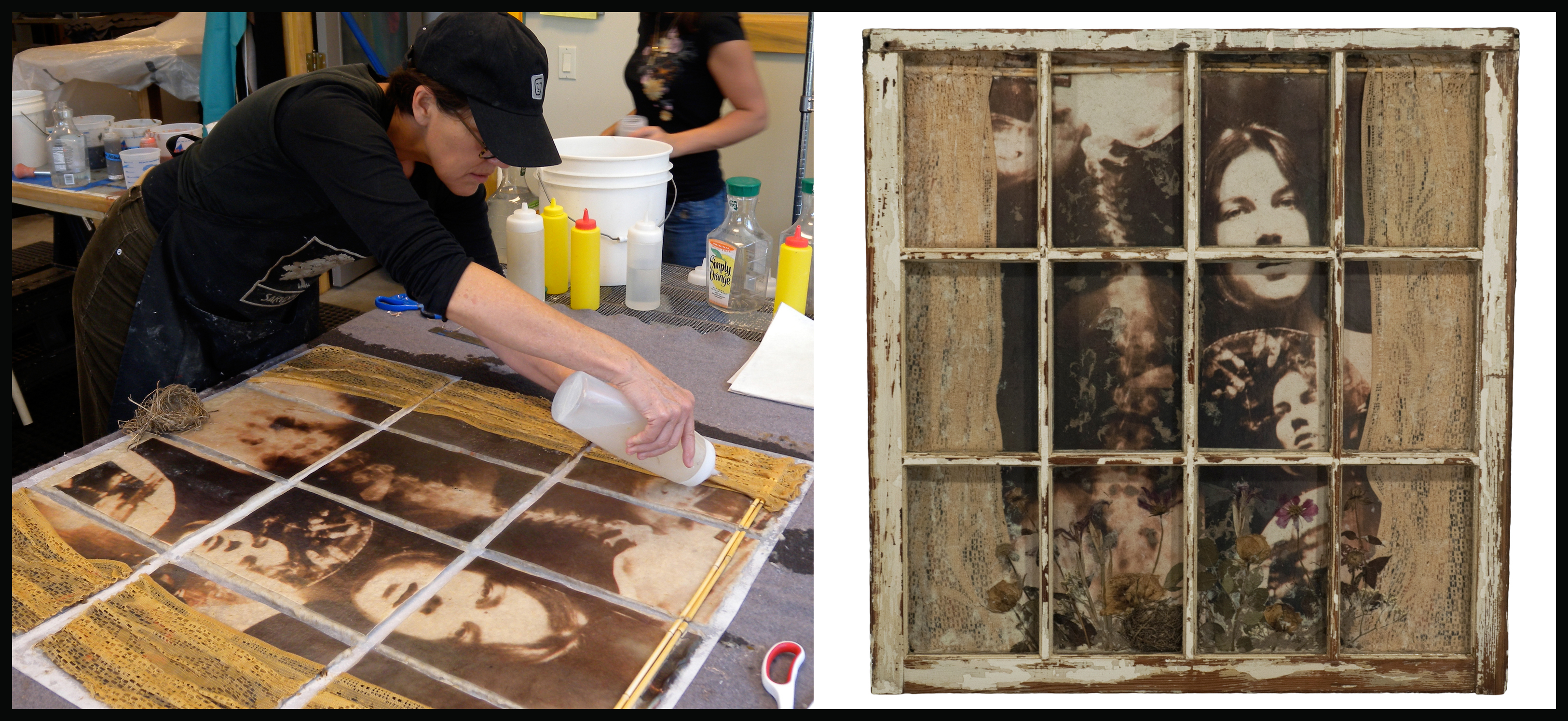 "Regional artist Gibby Waitzkin (left) adds some finishing touches to the piece, ""Looking Out"" at her studio in Floyd, Va. The completed work is shown on the right. ""Looking Out"" will be featured in  ""The Creative Process: Crossing Time and Boundaries,"" an art exhibition, demonstration, and lecture at the Virginia Bioinformatics Institute on July 14."