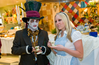 Dining Services employees constructed costumes and appeared as characters at the Alice in Wonderland dinner at the D2 dining facility.