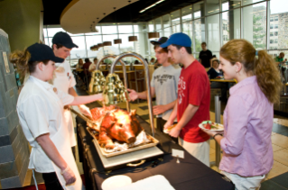 Special menu items like roast pig were served. The pig, from Virginia Tech's Plantation Road Meats, was raised on campus.