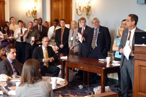 "Virginia Tech's Eric Hallerman (far right) at the Longworth House Office Building for a National Coalition for Food and Agriculture Research ""Lunch 'n Learn"" seminar."