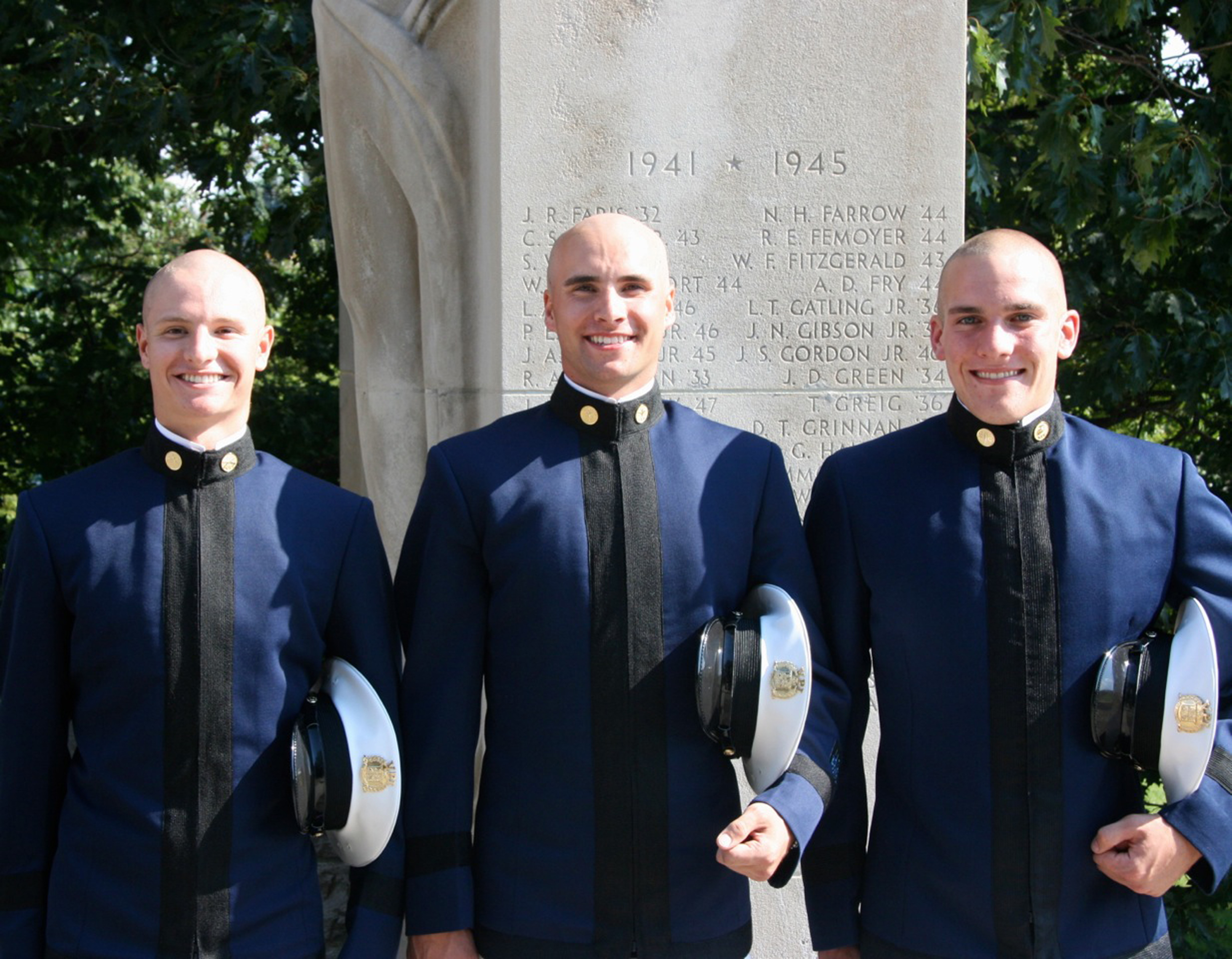From left to right are Cadets Conor Cosgrove, Ethan Smith, and Shane Wescott