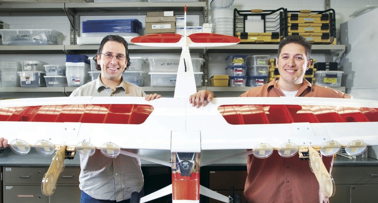 Shane Ross and David Schmale III with autonomous aircraft