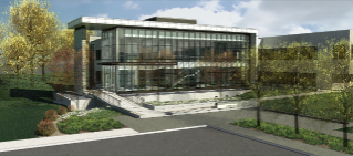 The Veterinary Medicine Instruction Addition will provide space for a state-of-the art clinical techniques laboratory for veterinary students and new faculty offices, seminar space, and small conference areas. It will also serve as a new main entrance to the college and showcase Hokie Stone. (Image courtesy of HKS Architects)