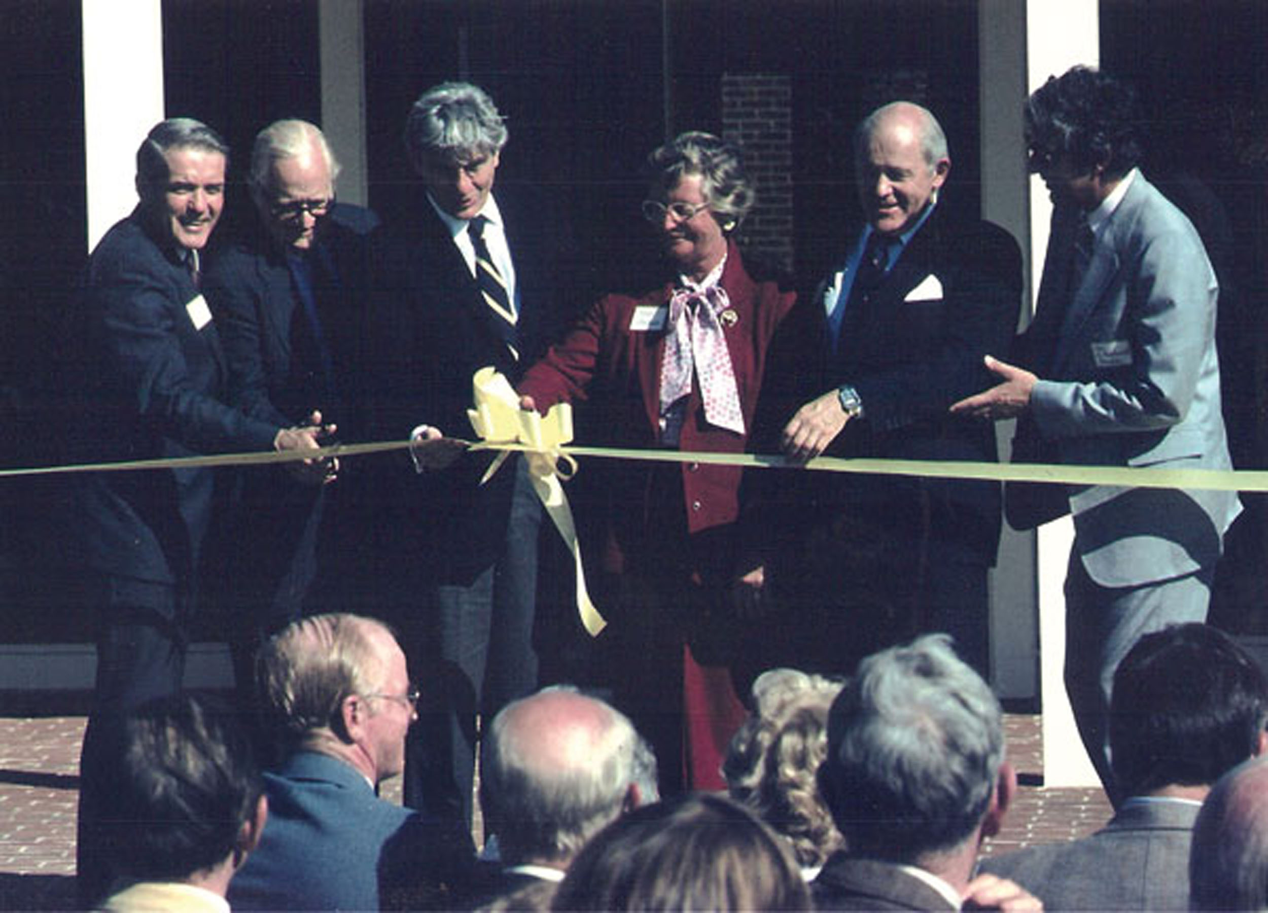 Photo of Jean Shehan and others at equine medical center dedication