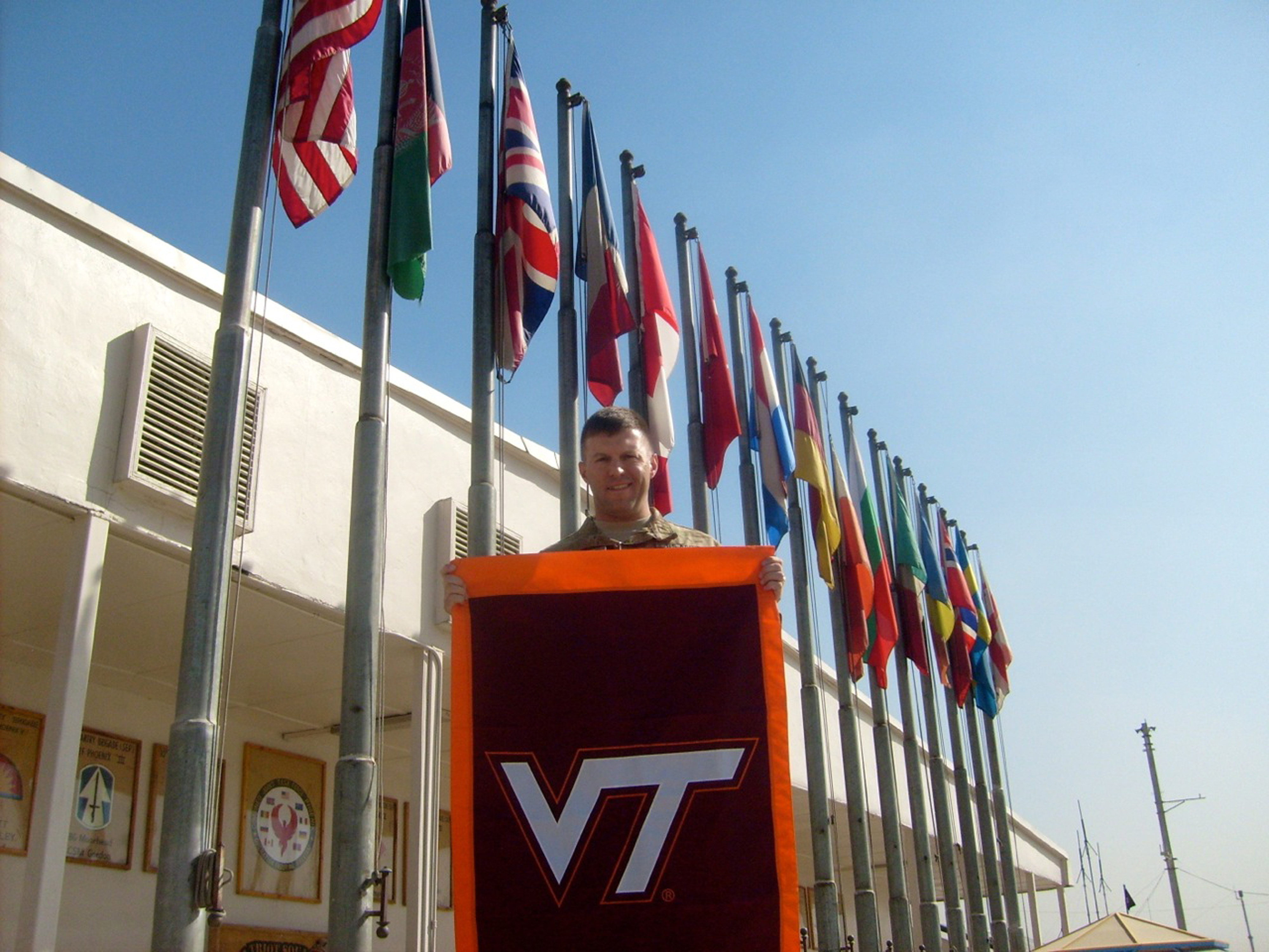 Maj. Ed Skelly, U.S. Army, Virginia Tech Corps of Cadets Class of 1995 while deployed in Afghanistan