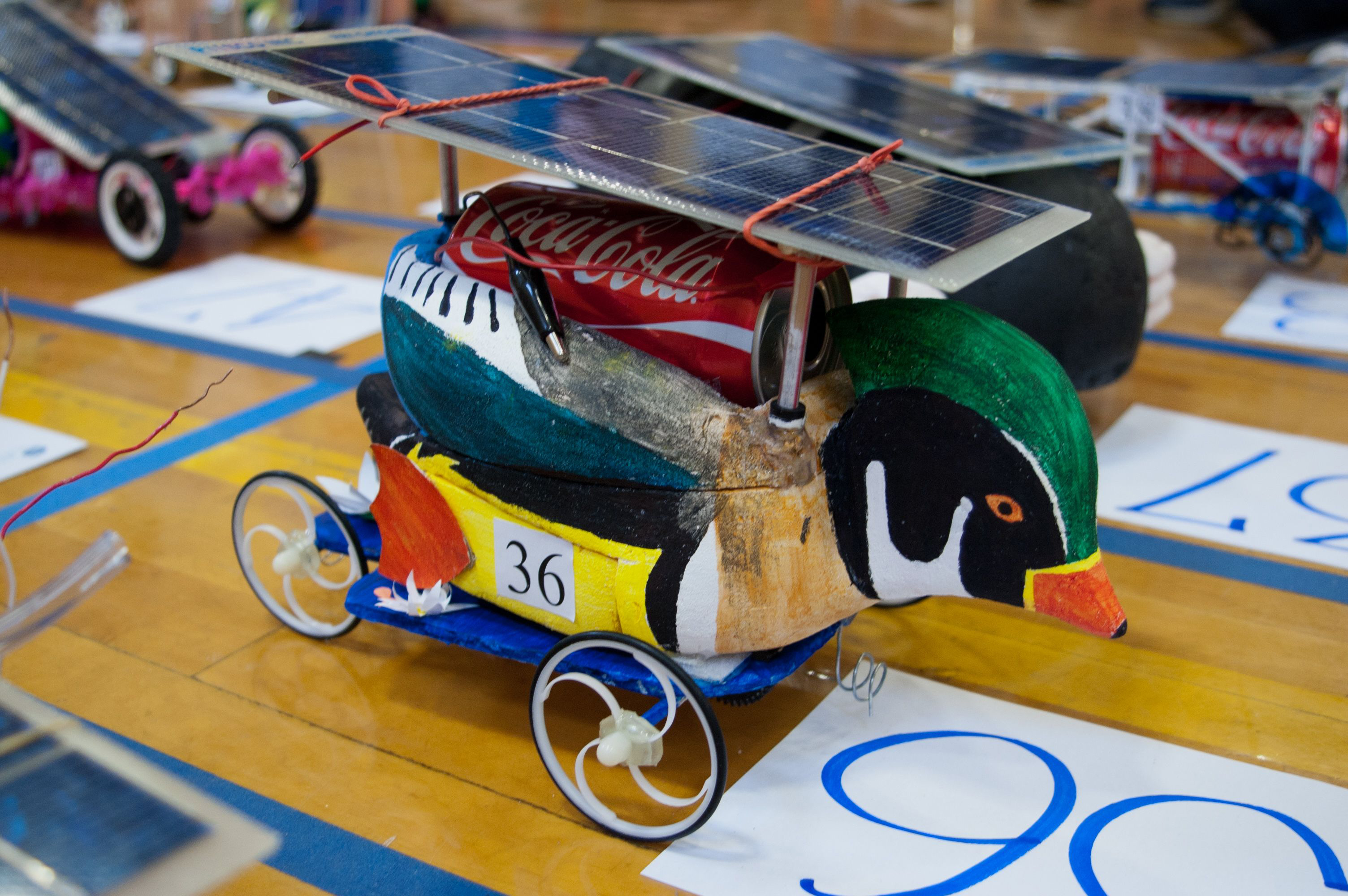 A solar car that was one winner in this year's Junior Solar Sprint competition.