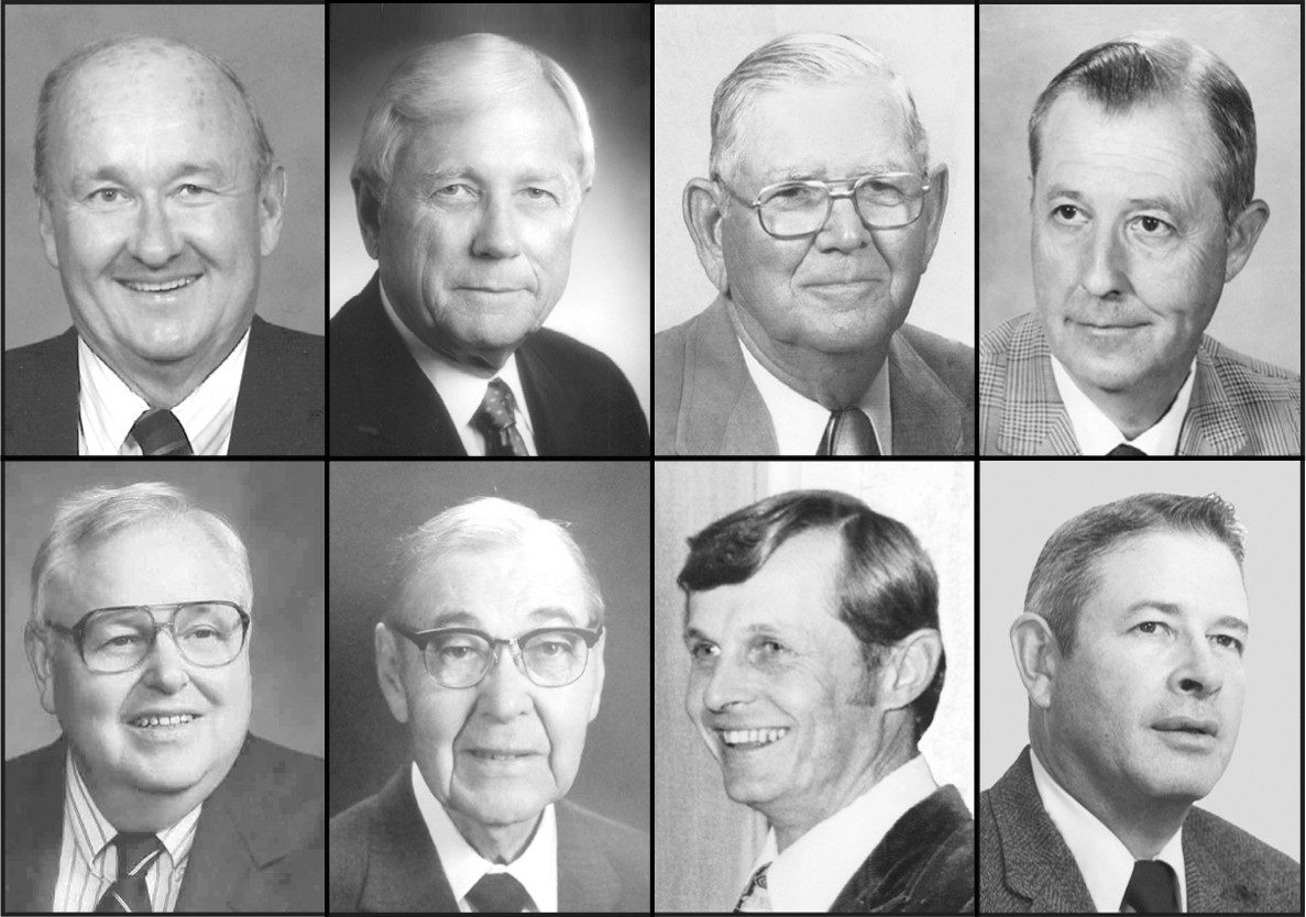 The Virginia Livestock Hall of Fame includes several Virginia Tech alumni and faculty members. Top, L-R: L. Barnes Allen, Clifford A. Cutchins, Willie B. Irby, and C. Curtis Mast. Bottom, L-R: George A. Miller, Paul M. Reeves, Ernest H. Rogers, and Kenneth Carlton Williamson.