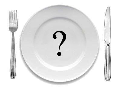 Food plate with a question mark on it.