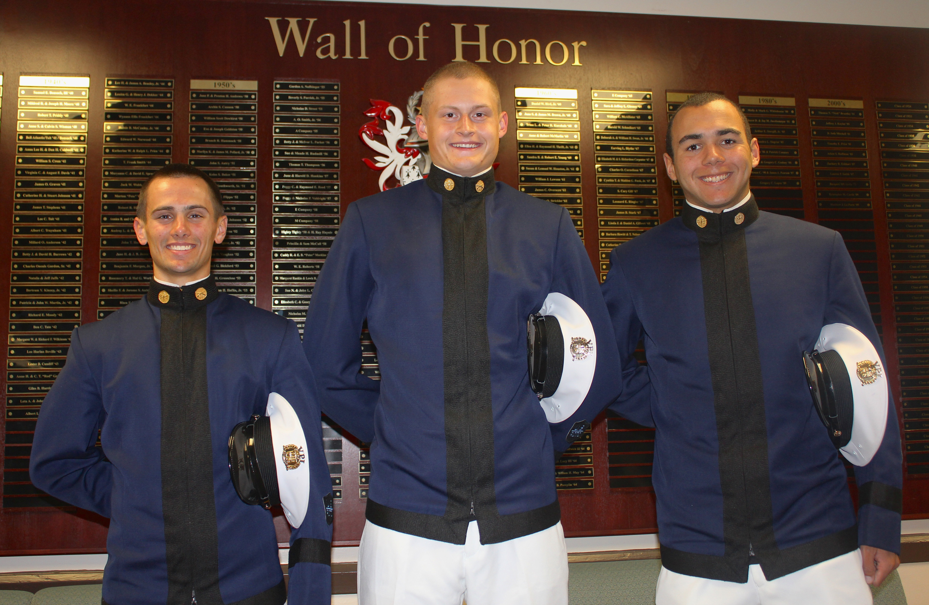 From left to right are Cadets Myers, Libby, and Rodriquez in Brodie Hall