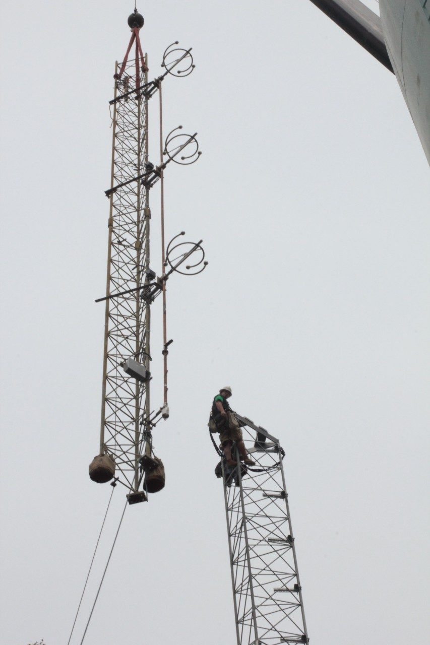 Final phase of erecting the new radio tower in Fairfield, Va.