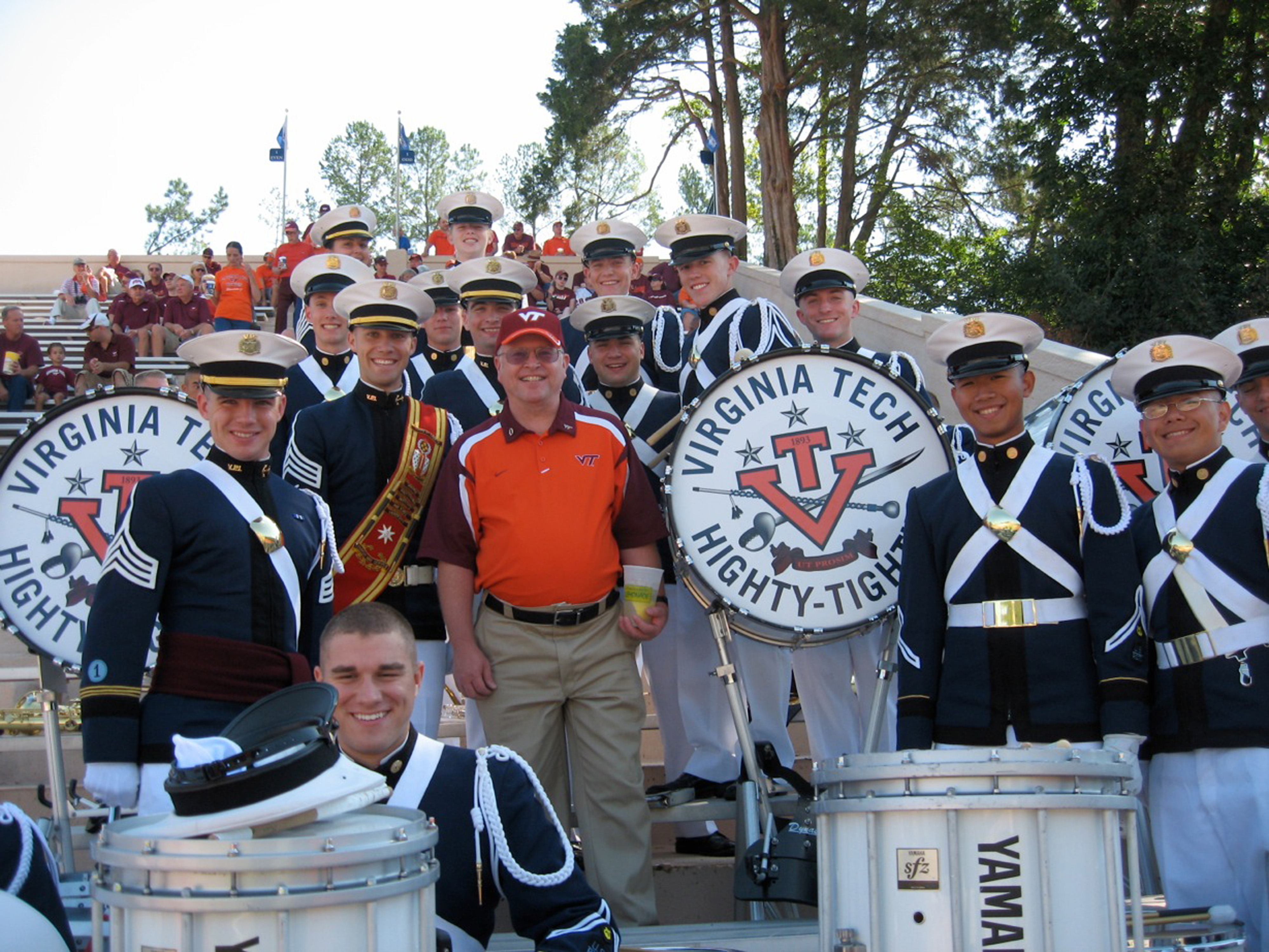 Members of the Highty-Tighties, the Regimental Band, with Assistant Director of Admissions retired Lt. Col. Gary Jackson, U.S. Army, Virginia Tech Corps of Cadets and Highty-Tighty Class of 1978 shown at the Duke game in 2009