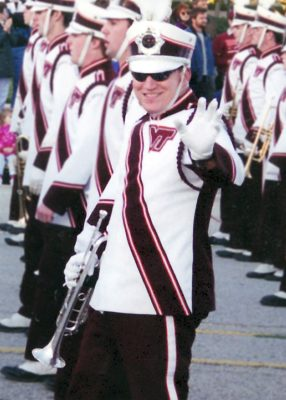 Chris Osburn marches with the Marching Virginians trumpet section.