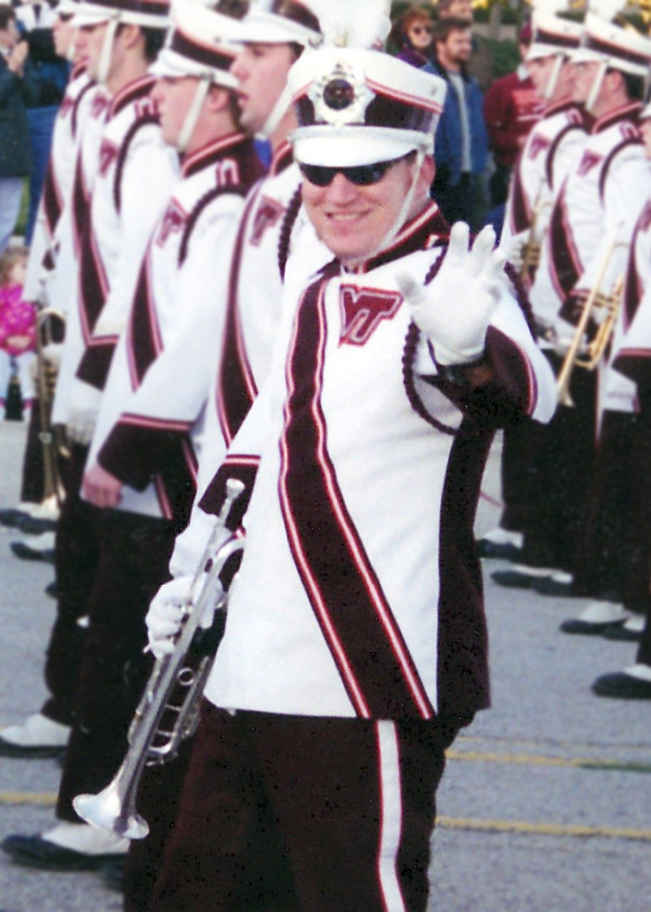 Virginia Tech alumnus Chris Osburn served as a rank captain for the trumpets during his time with the Marching Virginians.