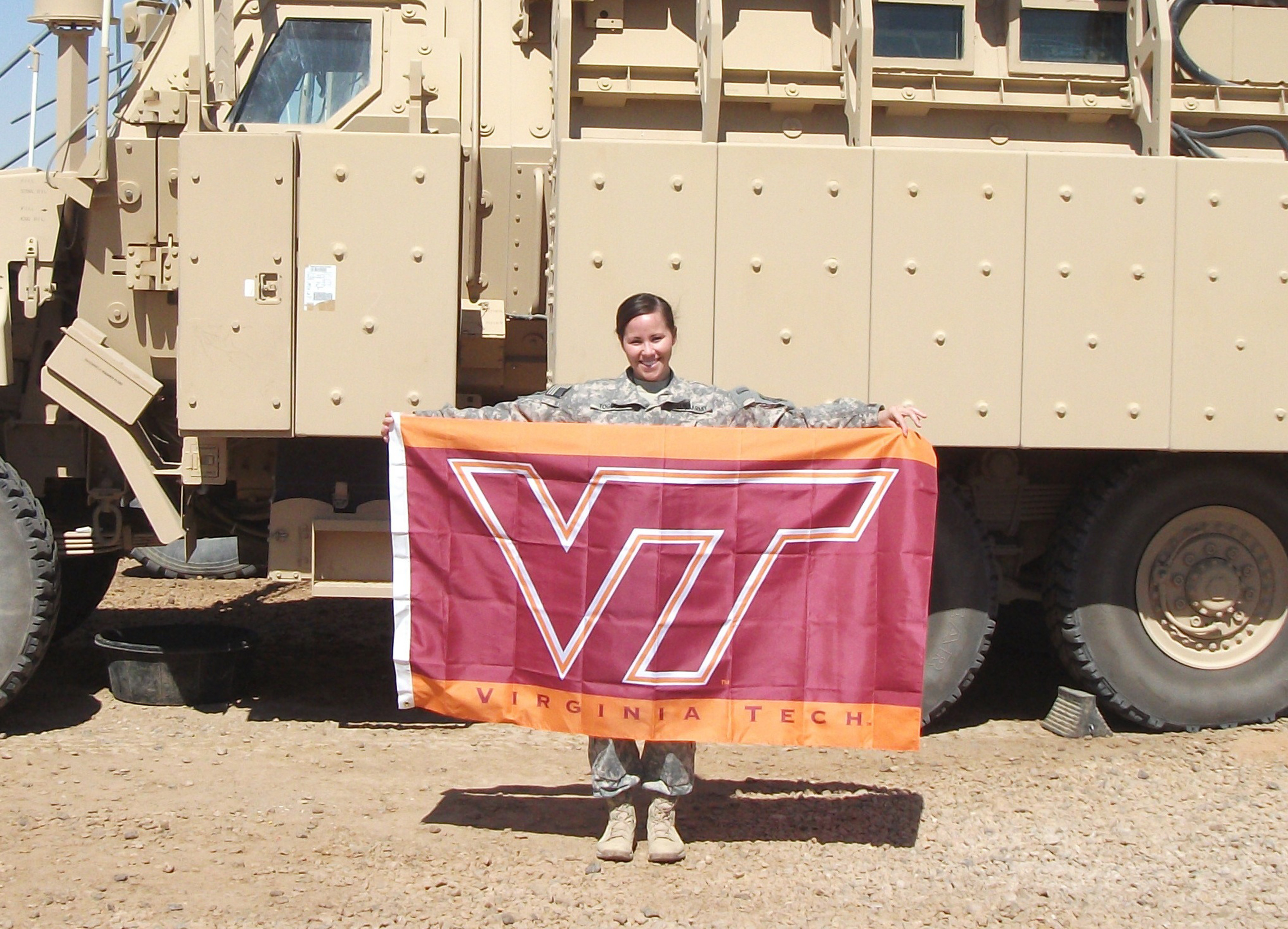 2nd Lt. Ashleigh Toguchi, U.S. Army, Virginia Tech Corps of Cadets Class of 2010 shown in Iraq