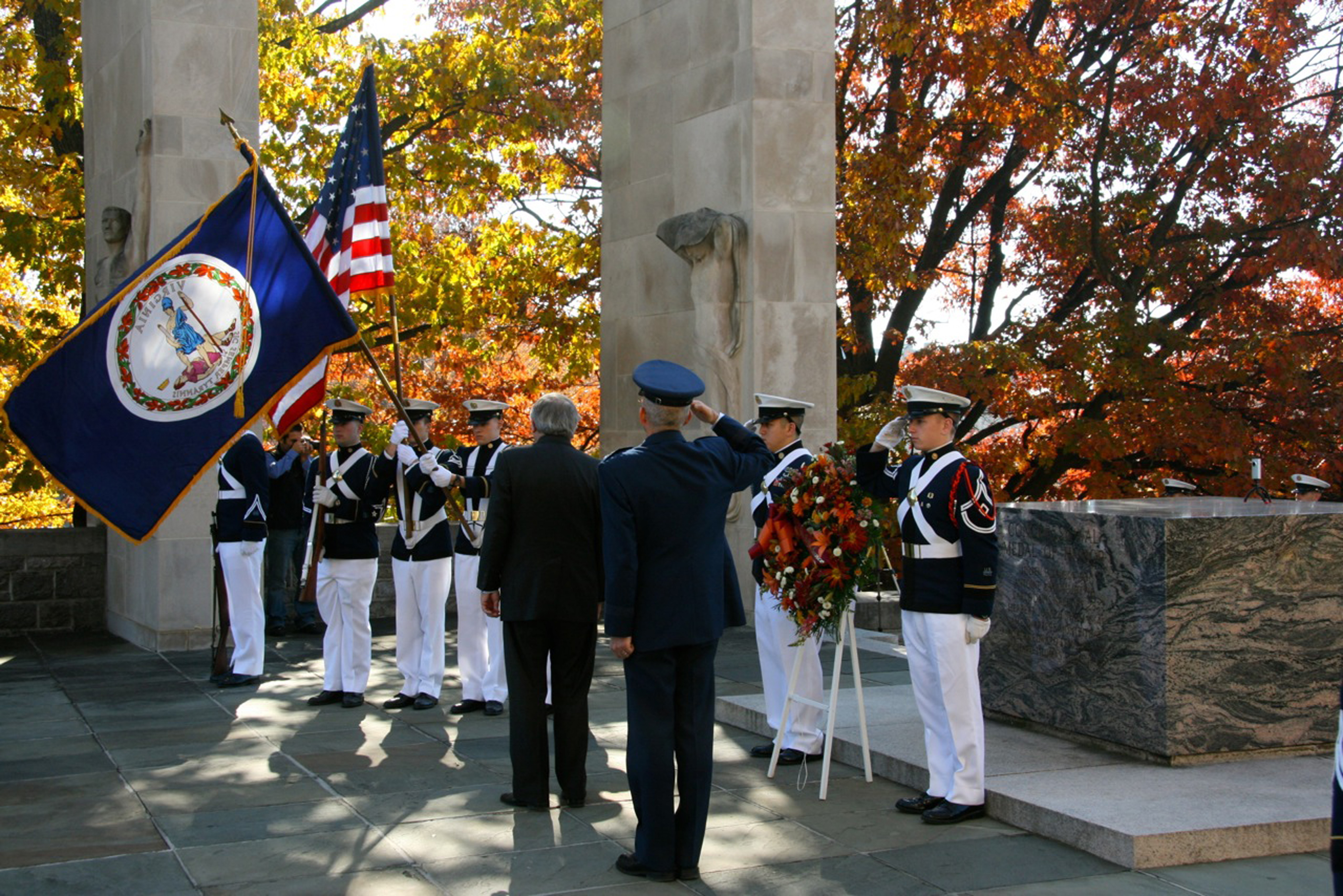 The Virginia Tech Corps of Cadets Veterans Day Ceremony at the War Memorial in 2010