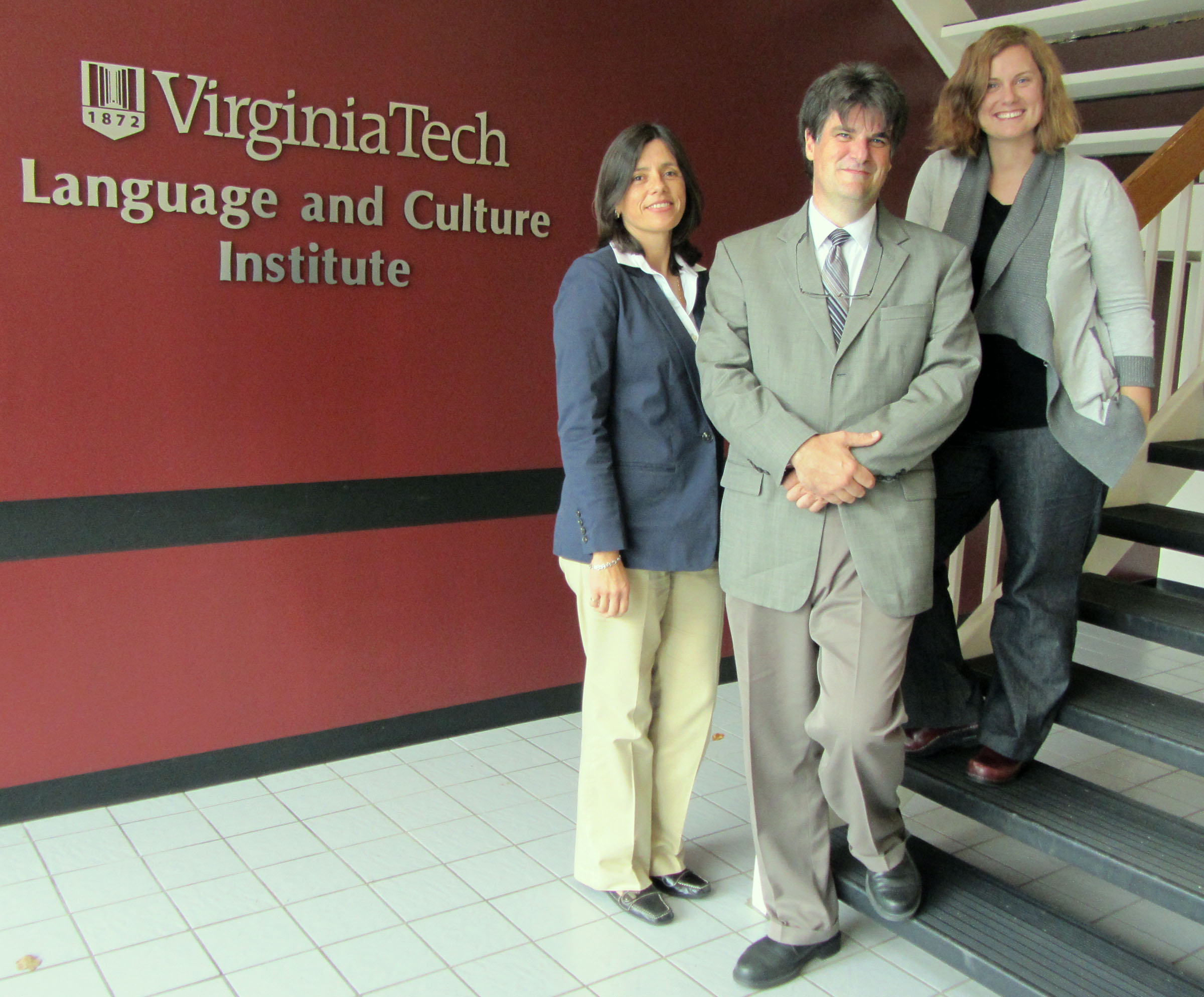 Staff members Elsie Paredes, Don Back and Amanda Johnson at the Virginia Tech Language and Culture Institute
