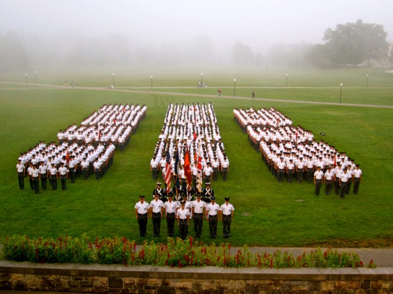 The Virginia Tech Corps of Cadets formed in front of the War Memorial Chapel in the fall of 2010