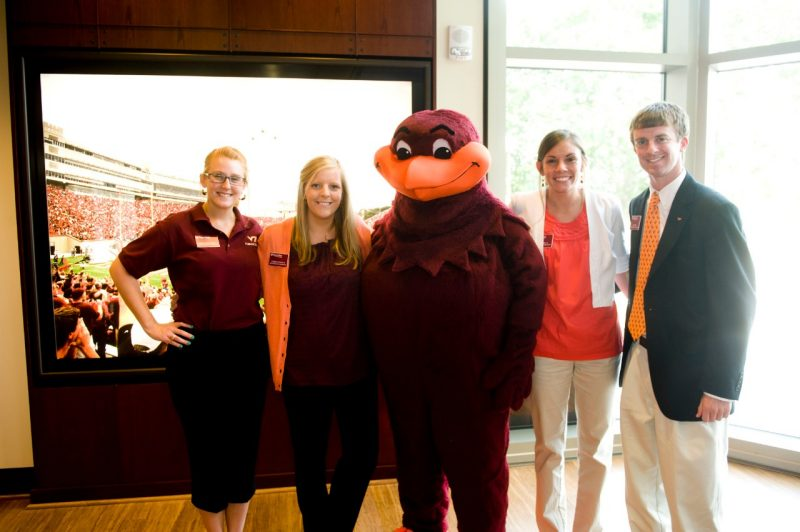 A life-size HokieBird exhibit allows fans to select one of three background images and snap their picture with the beloved mascot.