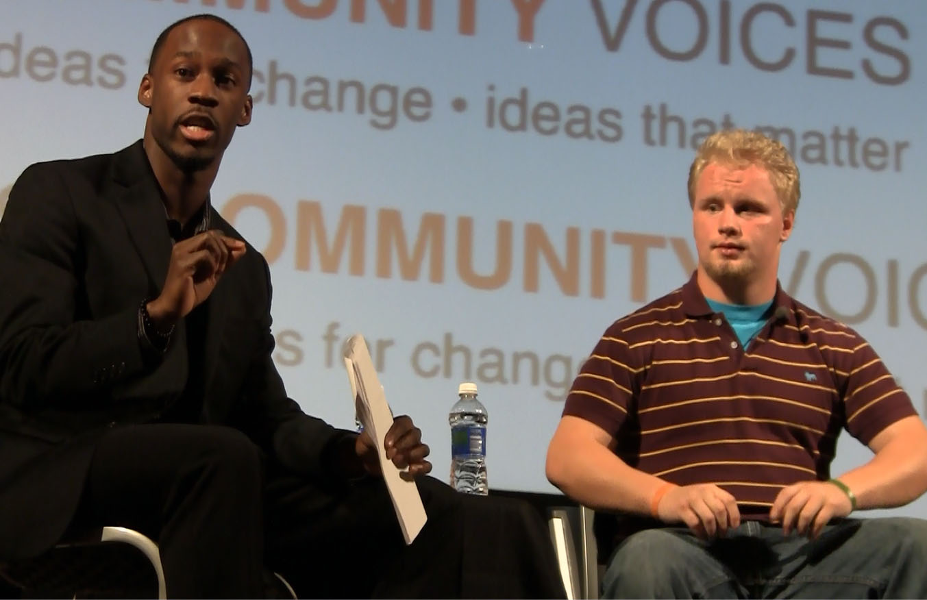 Victor Horton with Shane Laurence on Community Voices panel at Virginia Tech