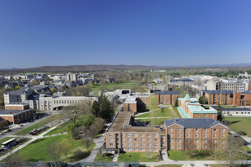 Photograph from above of Virginia Tech's campus