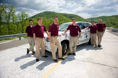 The winning EcoCar Challenge members redesigned their vehicle in Virginia Tech's Ware Laboratory.
