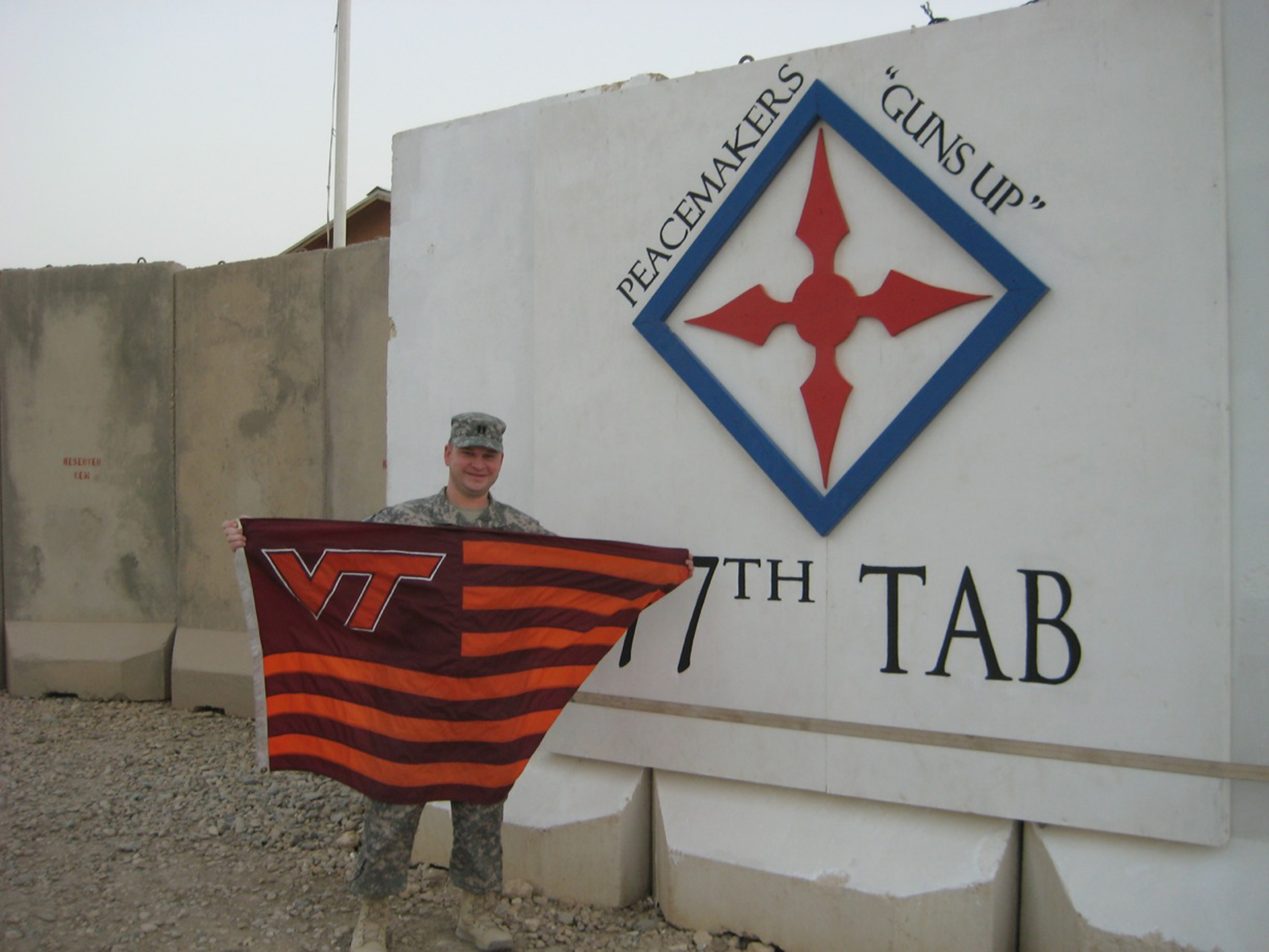 Capt. Danny Kane, U.S. Army, Virginia Tech Corps of Cadets Class of 2002 shown at Operating Base Adder, Iraq
