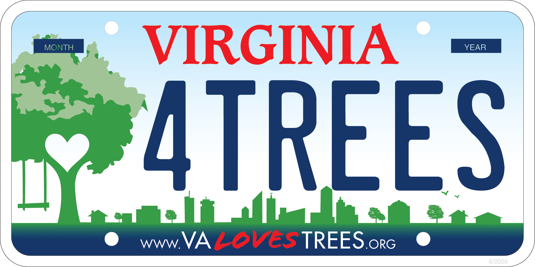 Design of the Virginia Loves Trees license plate, with a tree to the left side and a community skyline in the background.