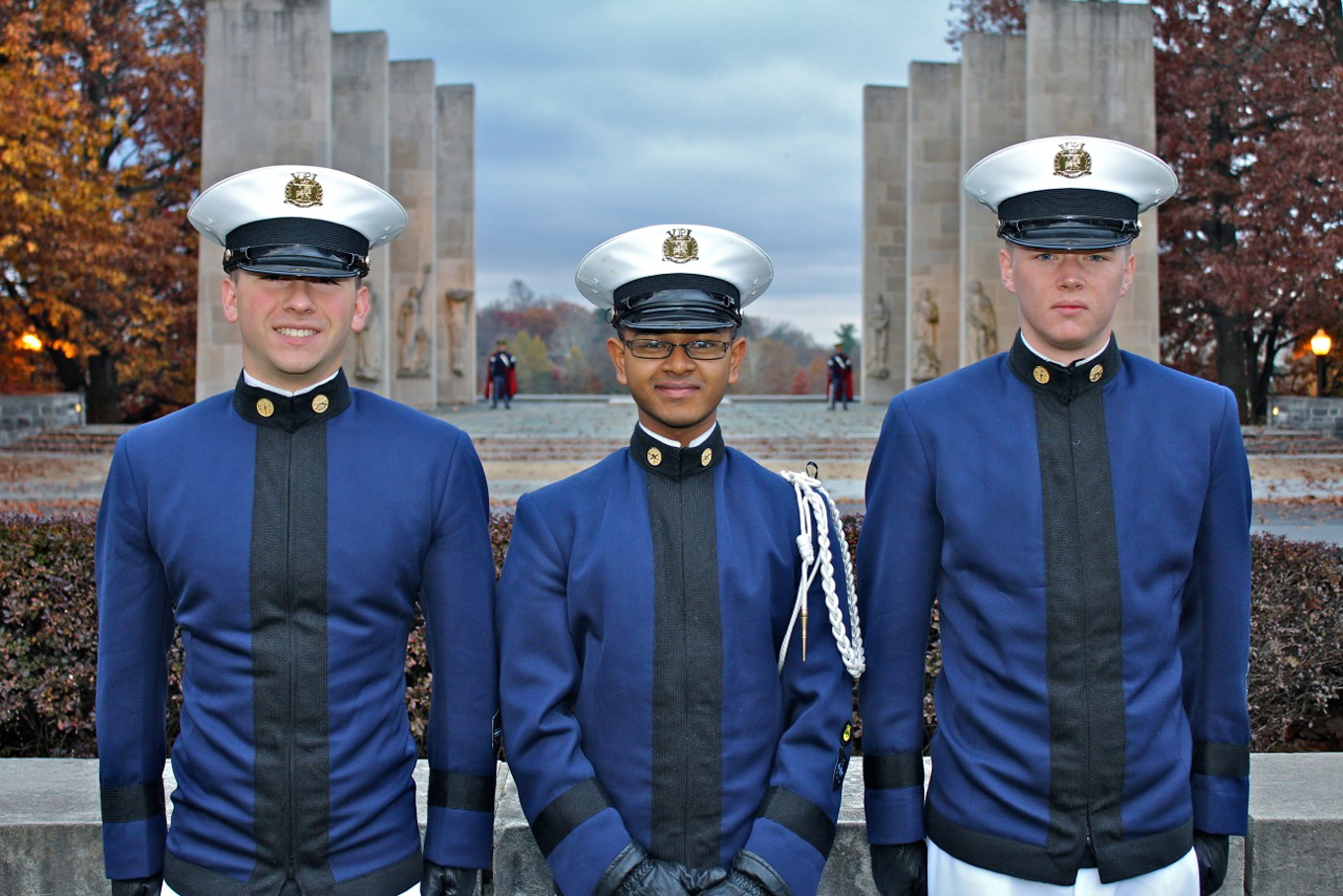 From left to right are Cadets Griffin Shaw, Syed Rumman, and Mark Foster in from of the Pylons