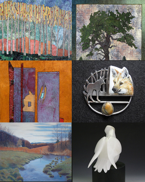 Works by Art JAM artists (left, top to bottom) Martha Olson, Judy Schwab, Martha Dillard, (right, top to bottom) Ann Reardon, Ali Wieboldt, and Jennifer Lovejoy.