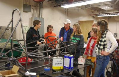 Students in mechanical engineering are building a racecar and showed to visitors to Virginia Tech's University Open House