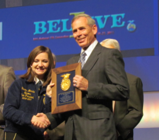 Alan McDaniel received the National FFA VIP Award at its national convention, held Oct. 19-22 in Indianapolis.